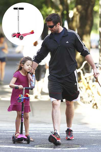 Hugh-Jackman-and-Daughters-Scooter
